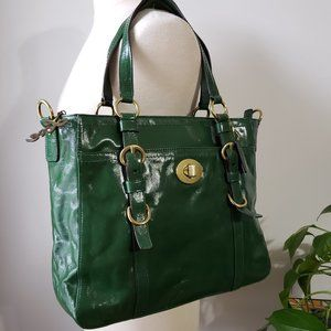 EUC COACH GREEN PATENT LEATHER SATCHEL LARGE